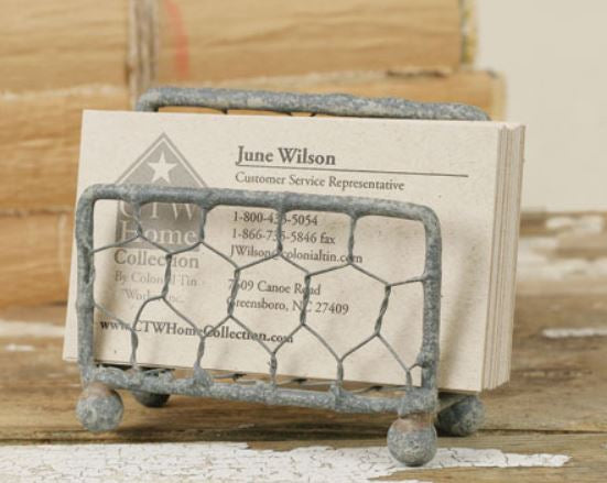 Chicken Wire Business Card Holder