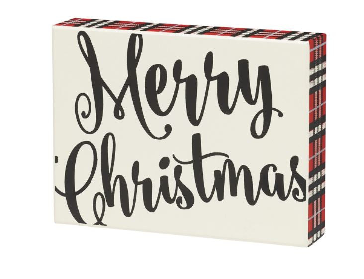 Merry Christmas - Plaid Sign