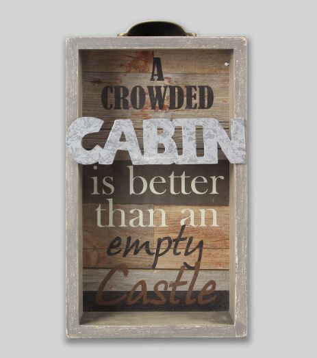 crowded cabin suitcase box sign