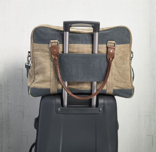 dash duffle bag on roller suitcase