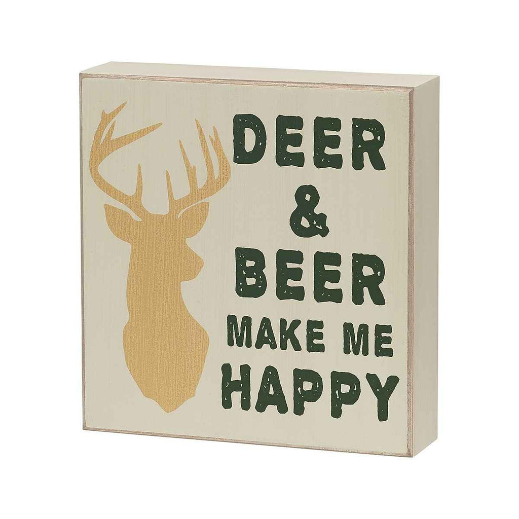 deer and beer make me happy painted wooden sign