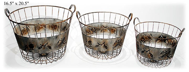 Embossed Bird Baskets