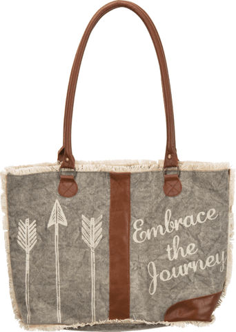 embrace the journey leather and canvas bag purse