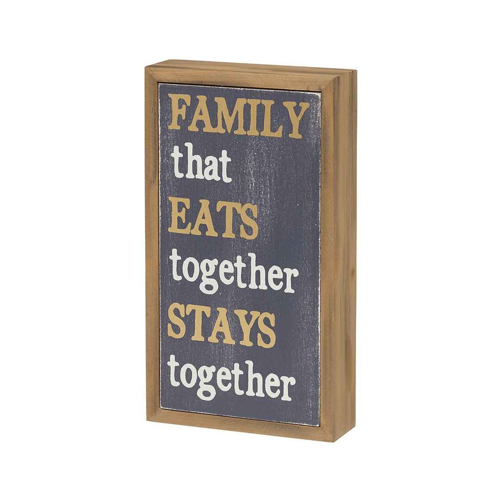 family that eats together stays together barn wood sign
