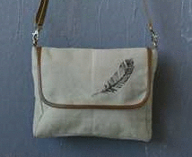 feather cross body canvas purse close up
