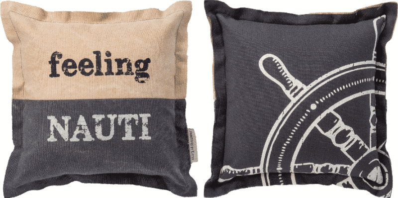 feeling naughty nautical pillow