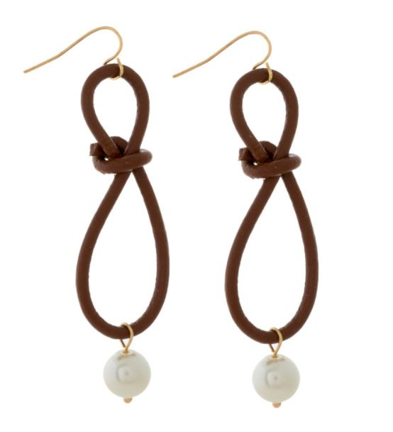 Leather & Pearl Fishhook Earrings