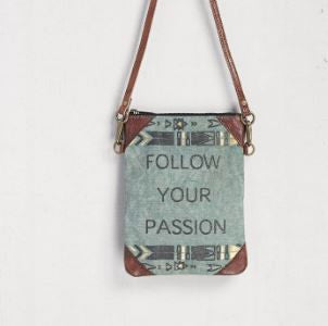 follow your passion crossbody purse