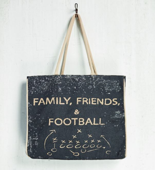 Family, Friends & Football Burlap Tote