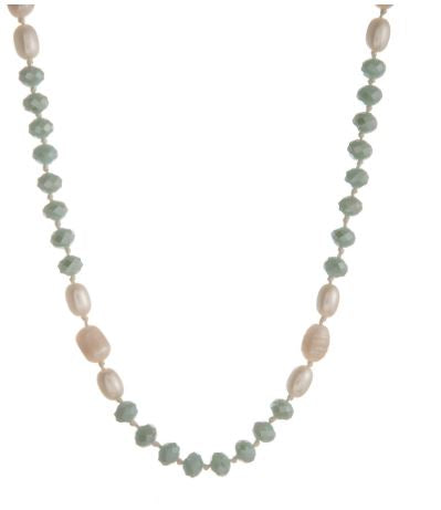 Mint Freshwater Pearls - Long Necklace