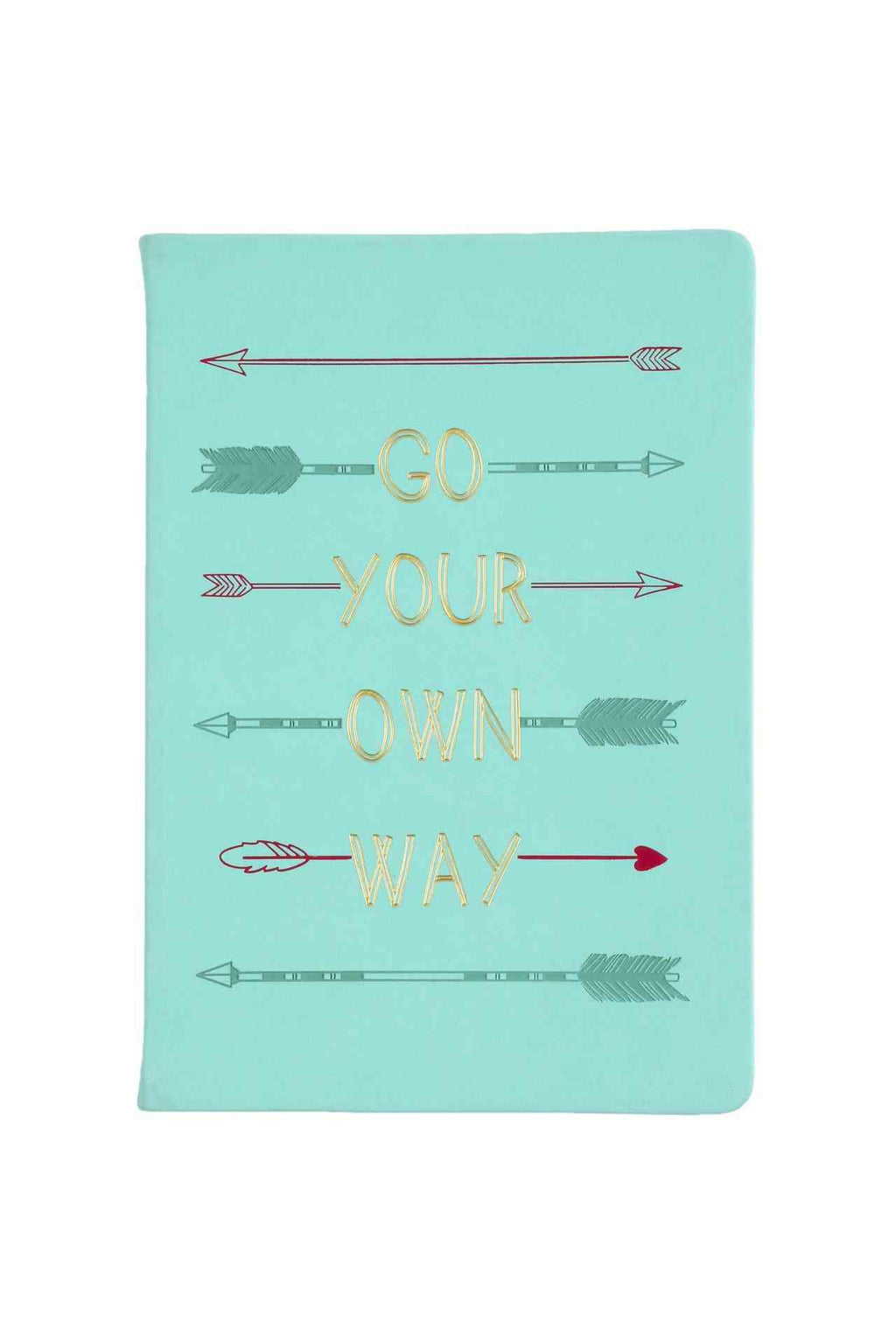 go your own way teal journal with gold writing and arrows