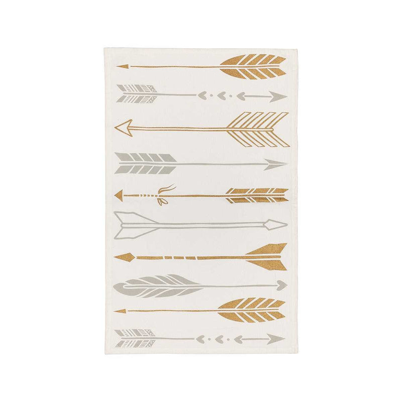 gold and silver arrow tea towel