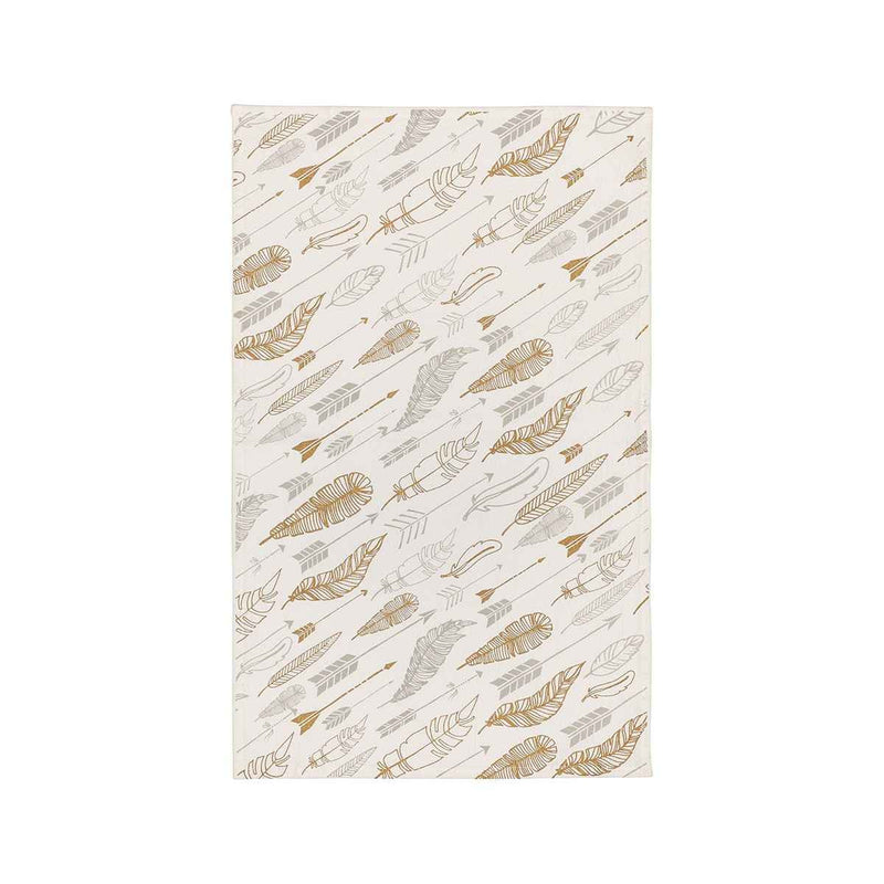 gold and silver feathers on tea towel