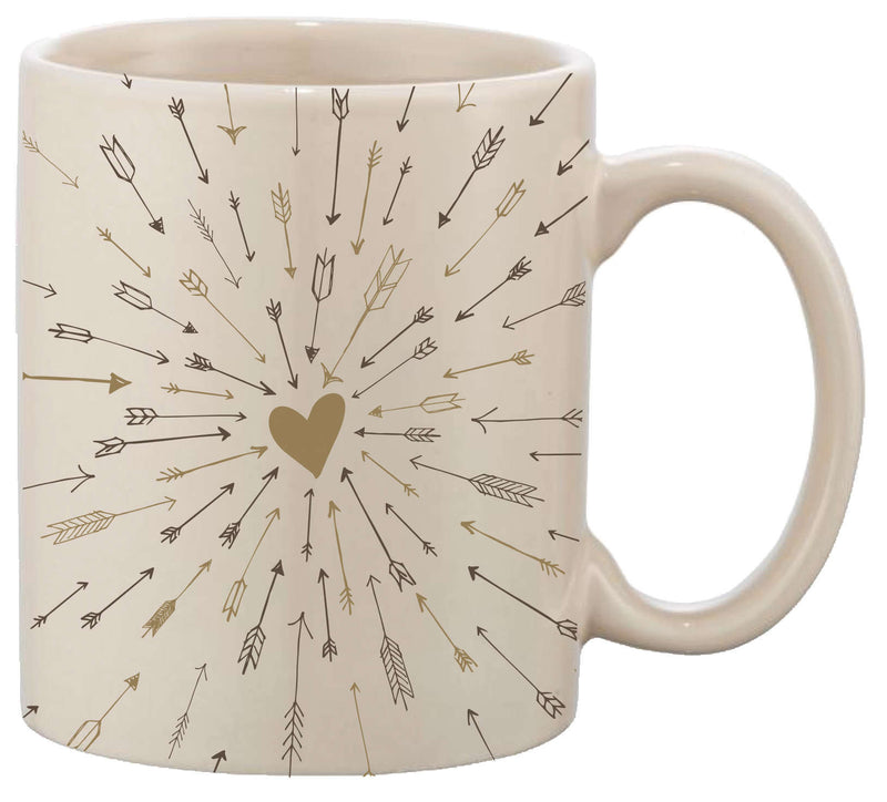 gold heart with arrows on mug