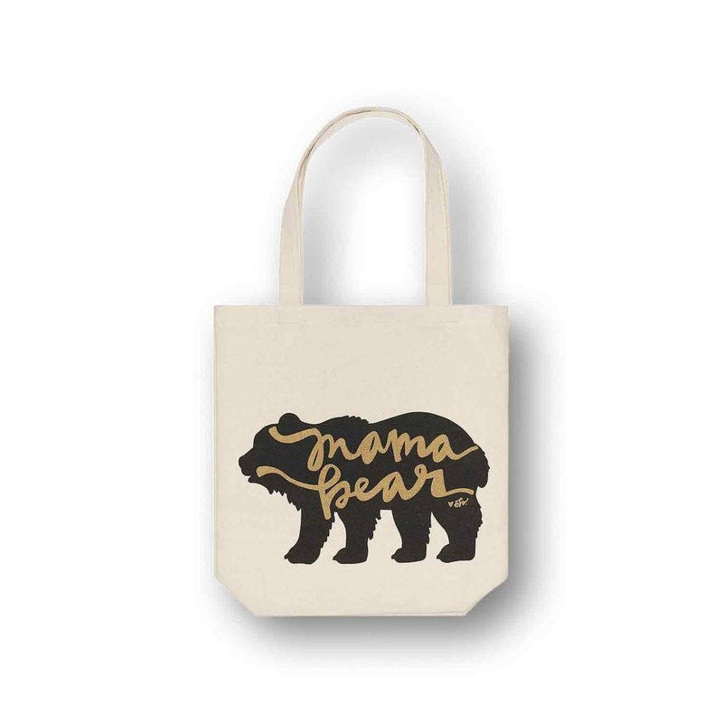 gold mama bear canvas tote