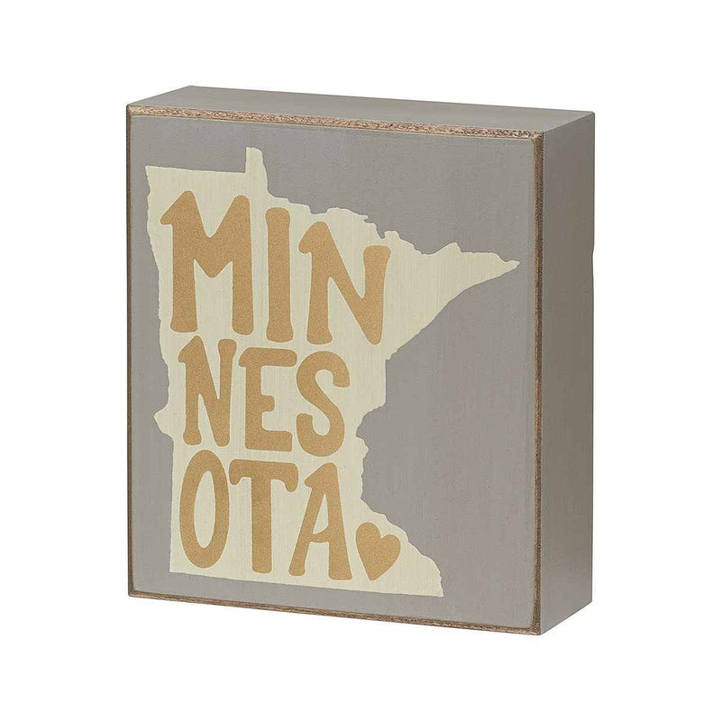 gold minnesota heart gray painted sign