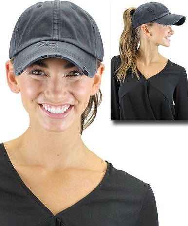 Distressed Charcoal Pony Tail Ballcap