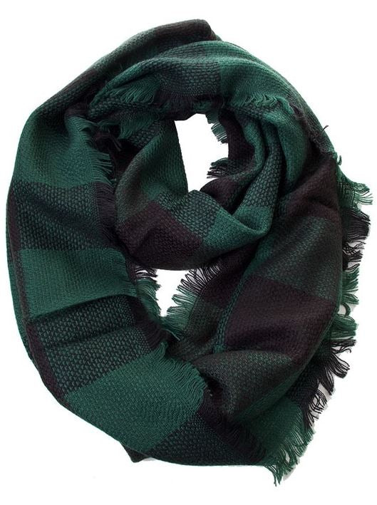 Green/Black Check Infinity Scarf