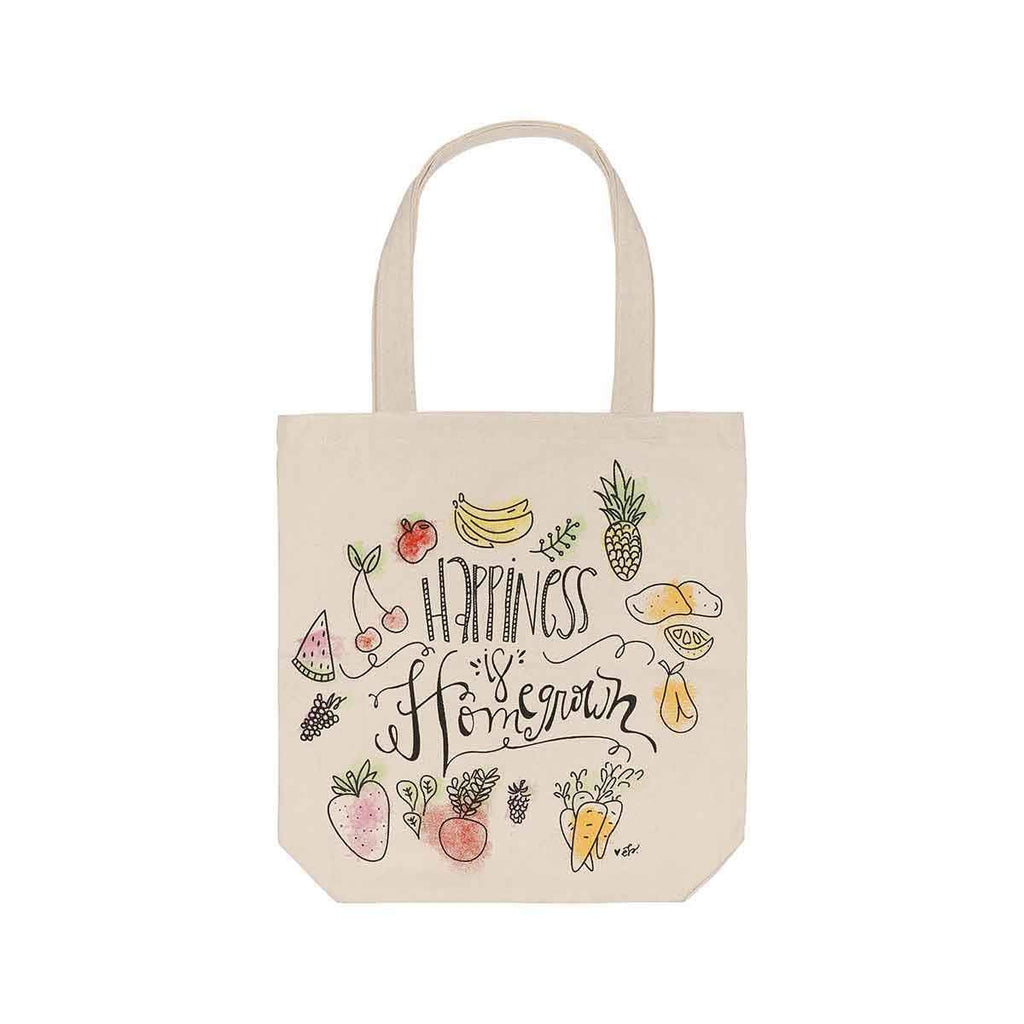 happiness is homegrown water colored canvas tote bag