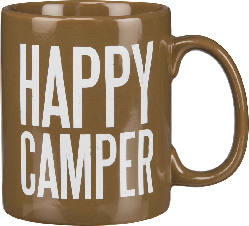 happy camper brown coffee mug
