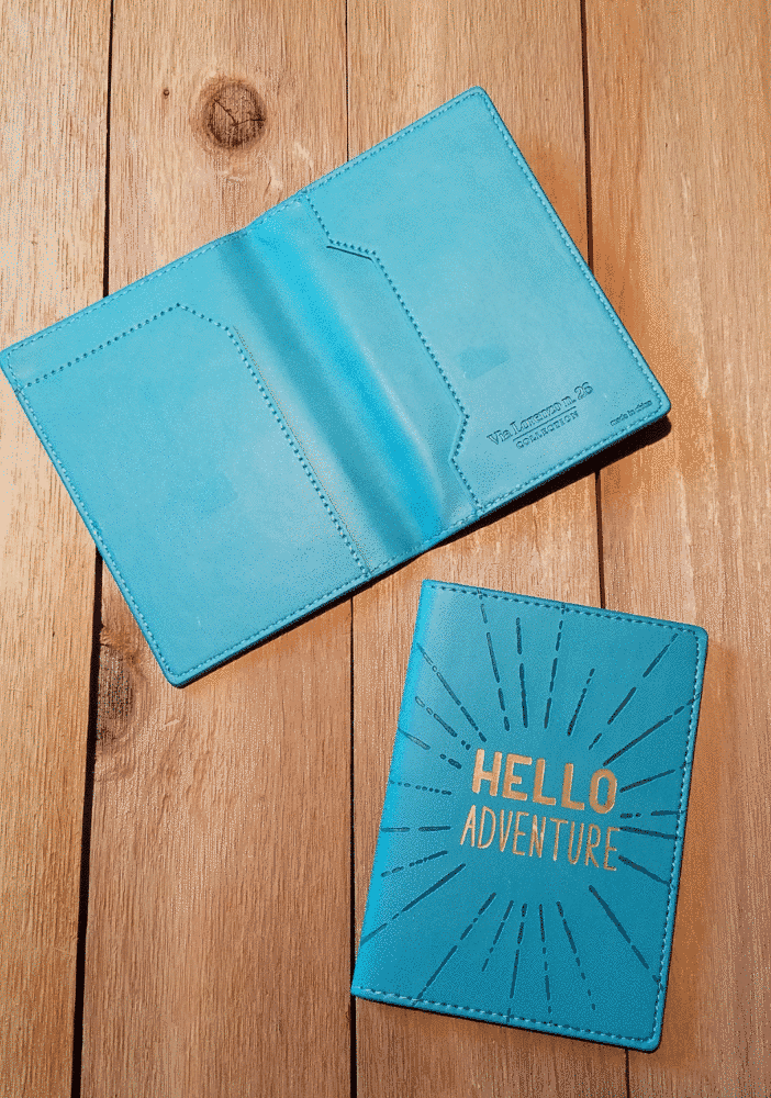 hello adventure teal passport case cover inside