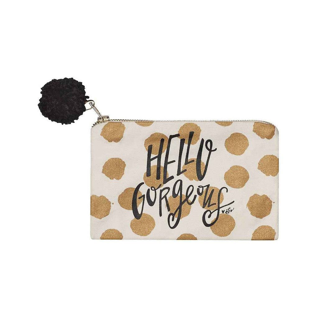 hello gorgeous gold polka dot cosmetic bag