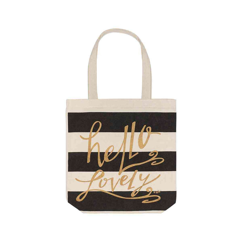 hello lovely black strip canvas tote bag with black strips