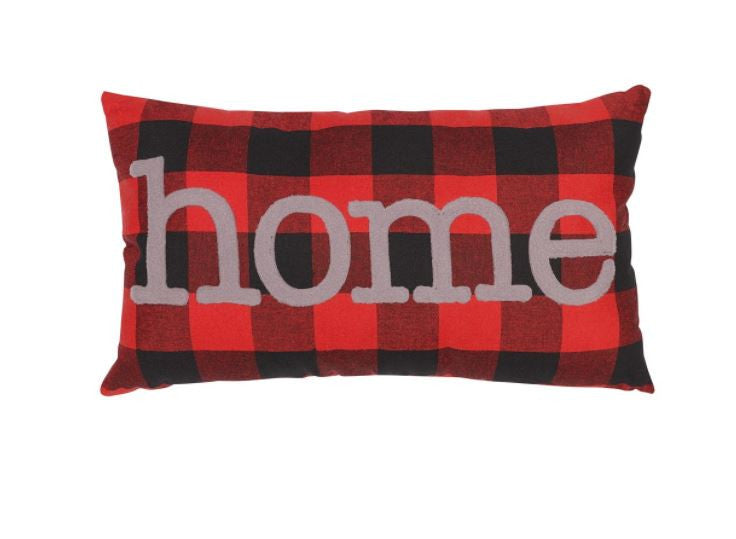 HOME - red plaid pillow