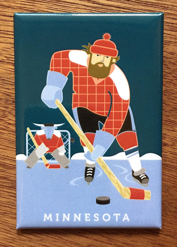 Paul Bunyan and Babe Playing Hockey Magnet