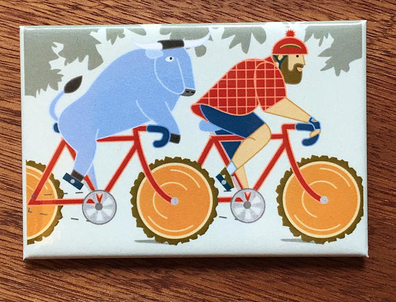 Paul Bunyan and Babe Bicycling Magnet