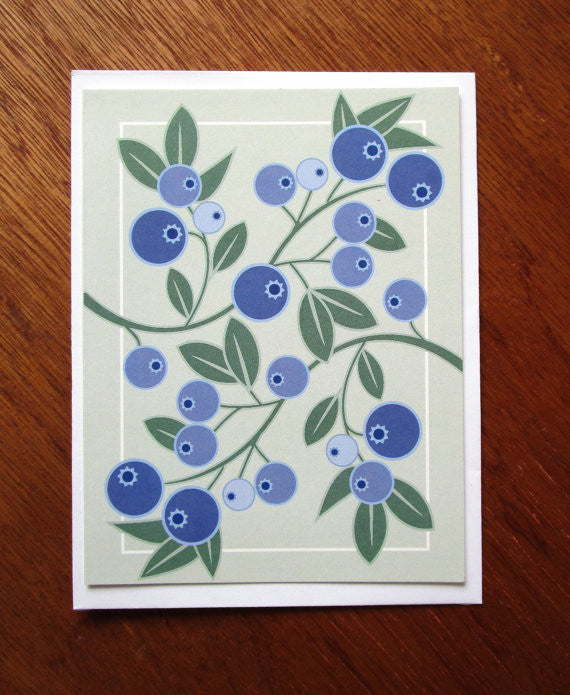 blueberries note card