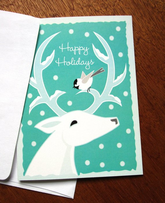 Happy Holidays White Deer - Note Card