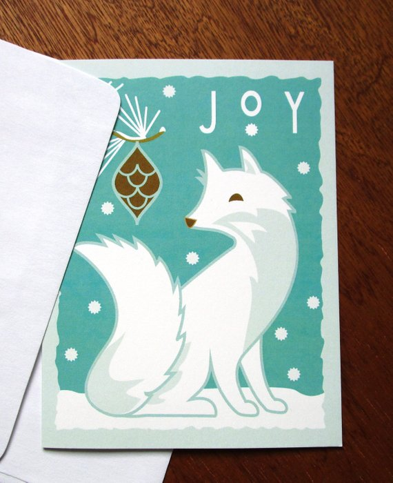 Joy White Fox - Note Card