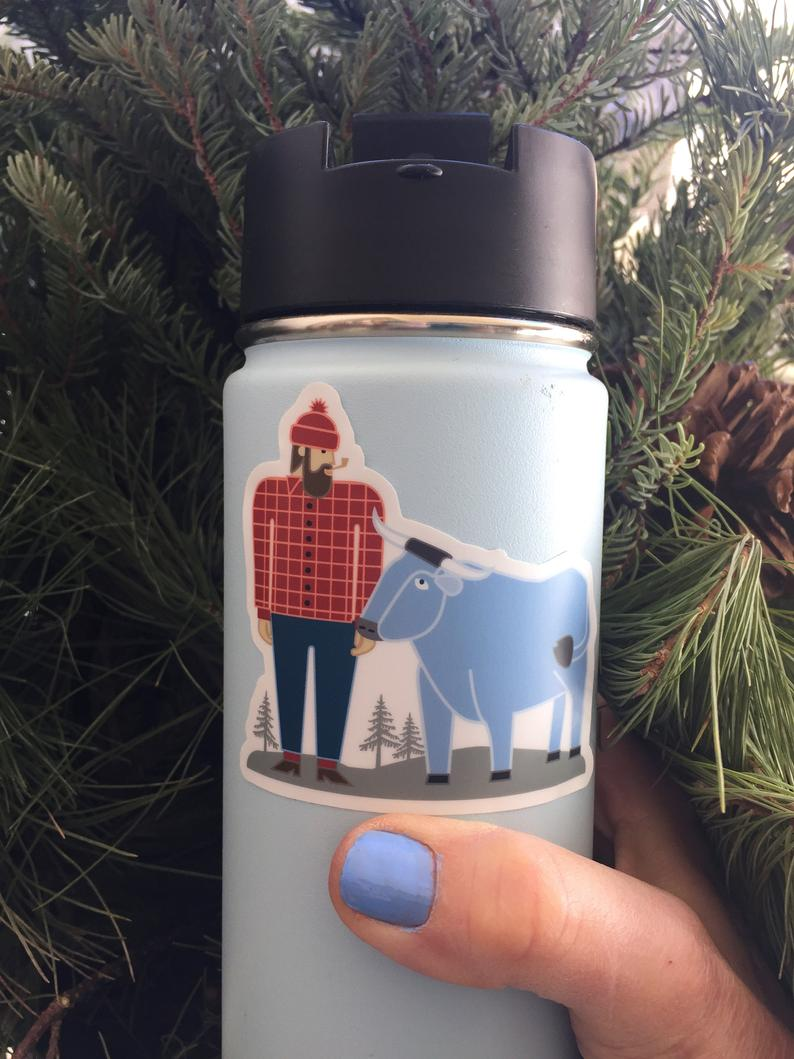 Paul Bunyan and Babe - Decal