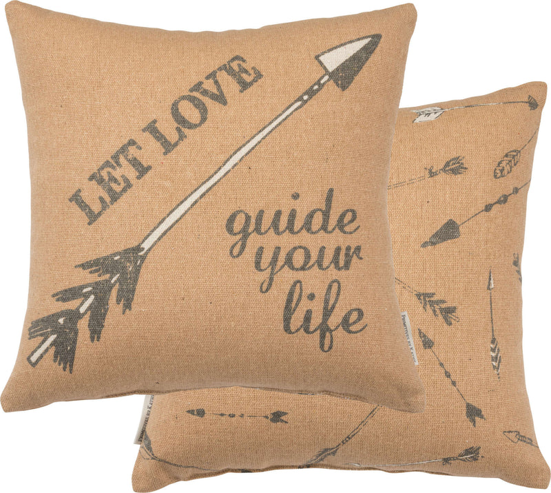 let love guide your life mustard pillow with arrows