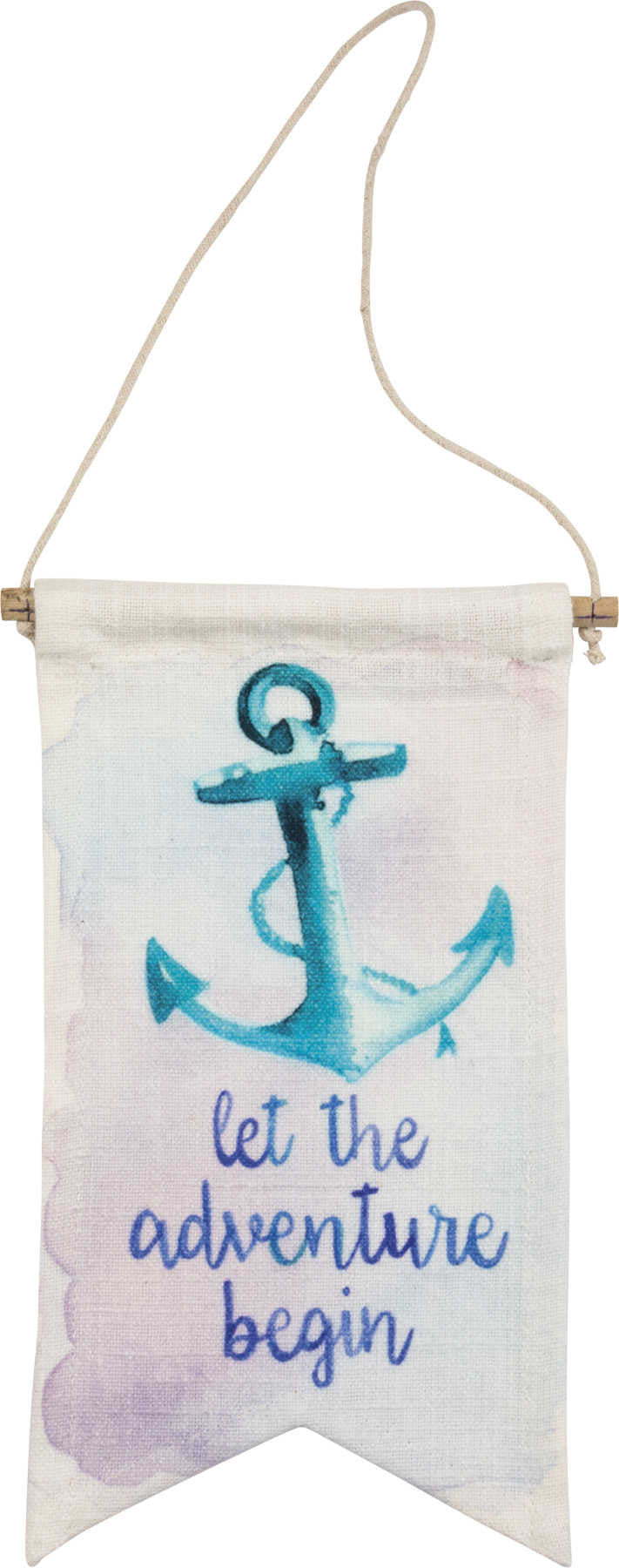 let the adventure begin water color banner with anchor