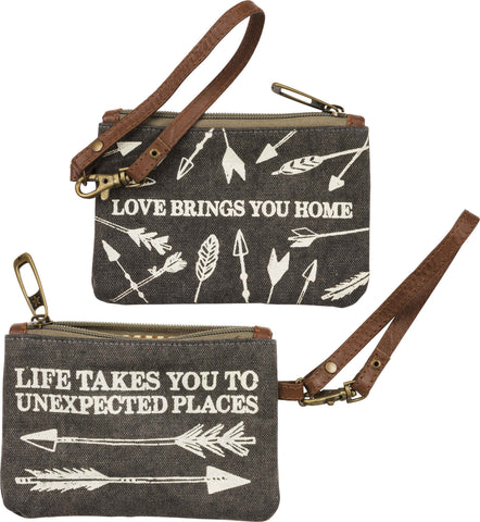 life takes you to unexpected places love brings you home canvas wristlet purse bag