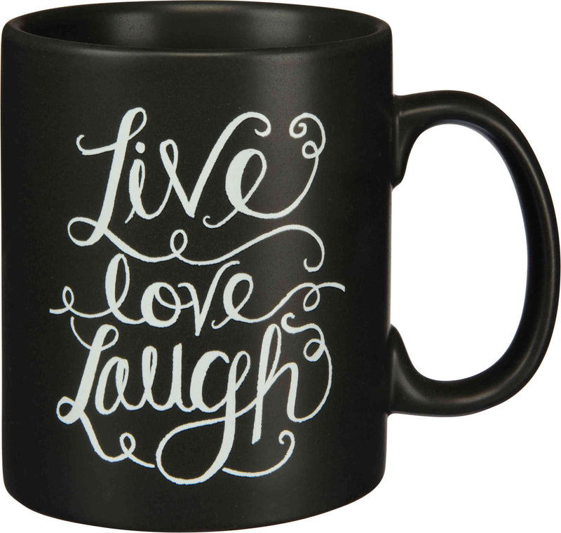 live love laugh black coffee mug with white lettering