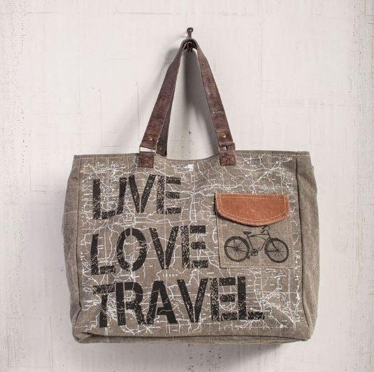 live love travel weekender tote