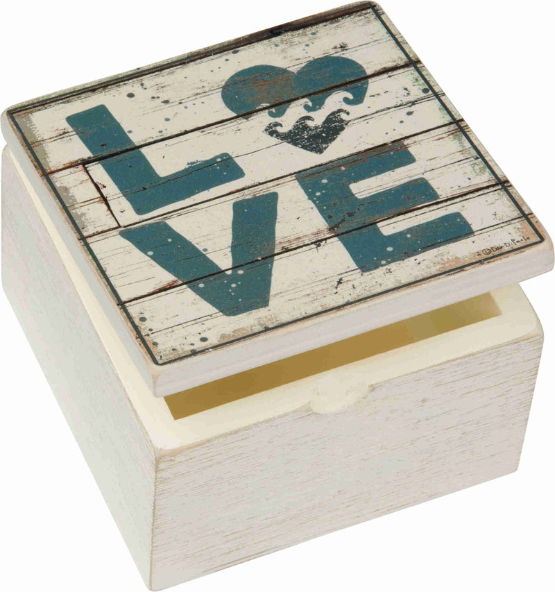 love waves beach small cream colored wooden box
