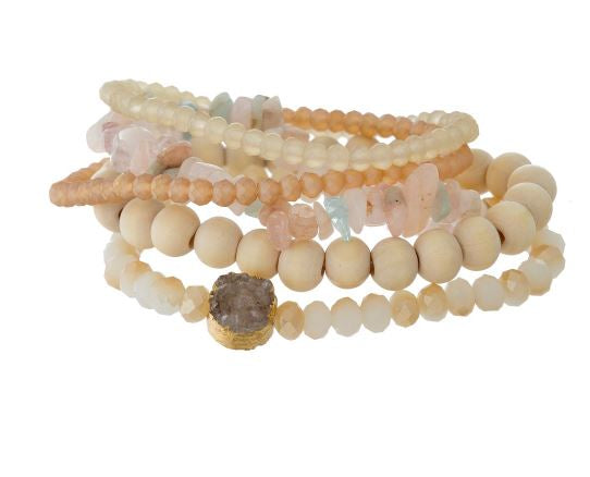 5 Piece Neutral Stone and Wooden Bead Bracelet