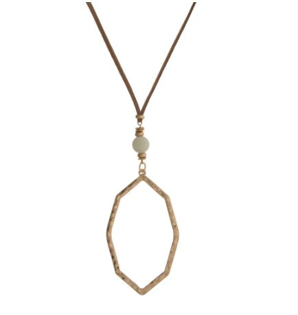 Hammered Gold Octagon Necklace
