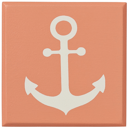 painted wooden magnet coral with anchor