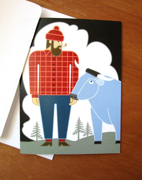 paul bunyan card with envelope