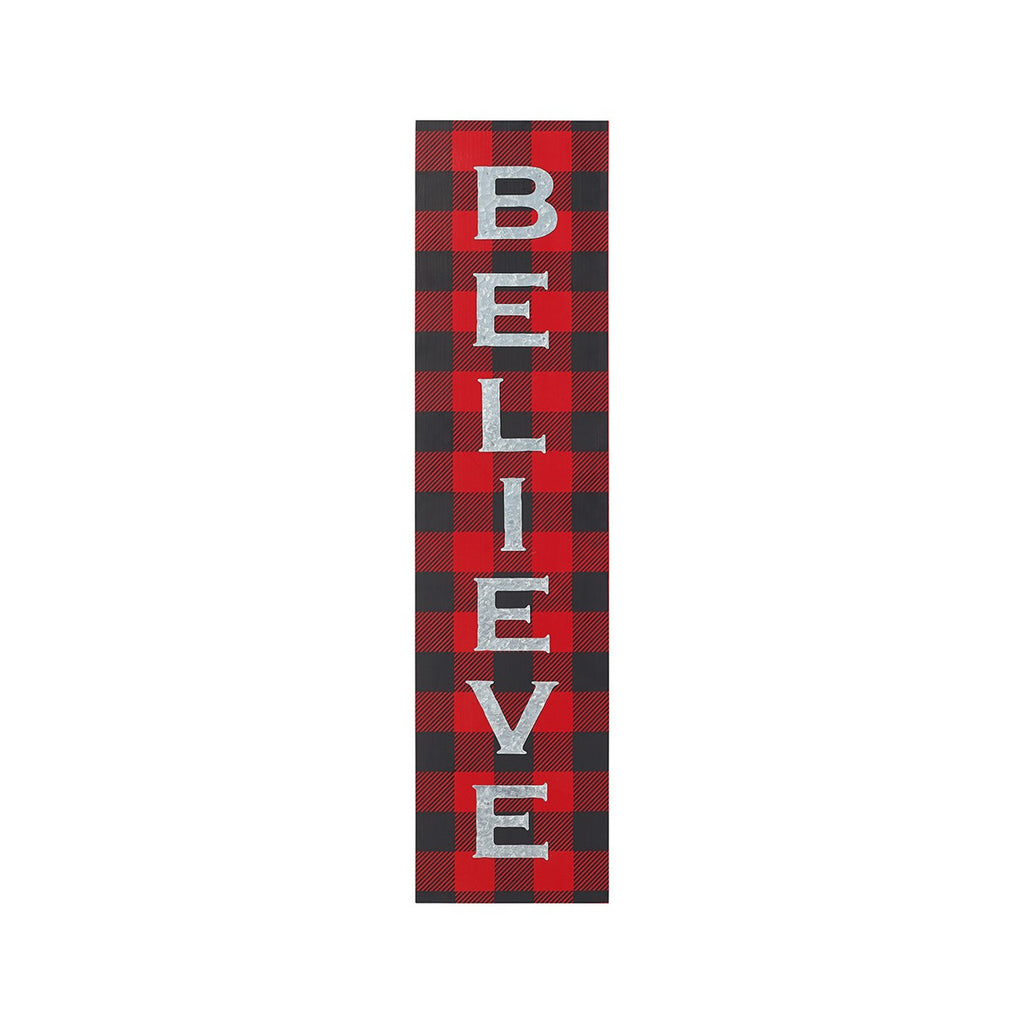 Believe Buffalo Plaid Porch Sign