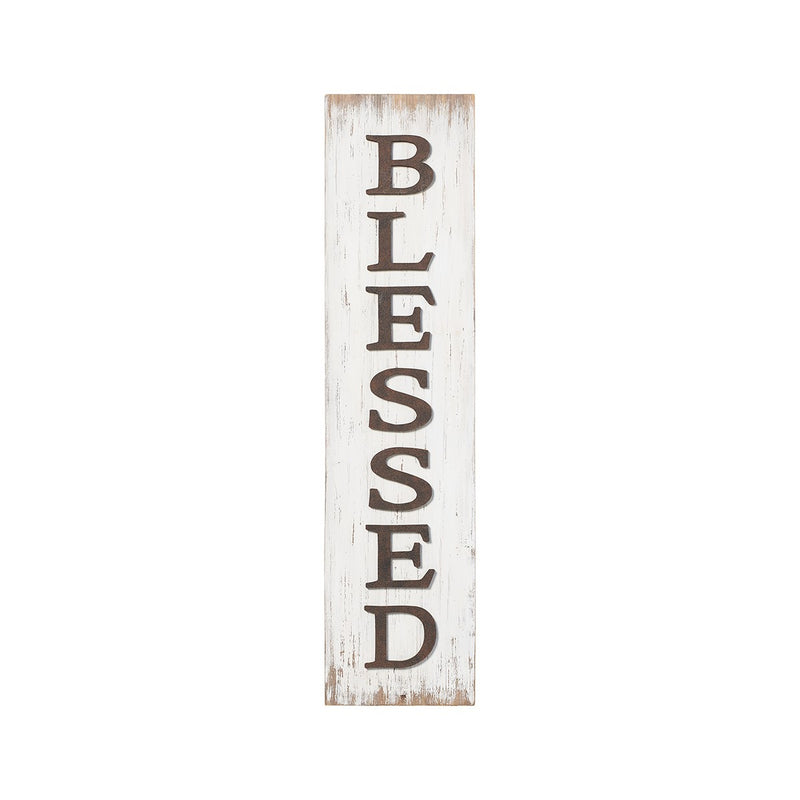 Blessed White Barnwood Porch Sign