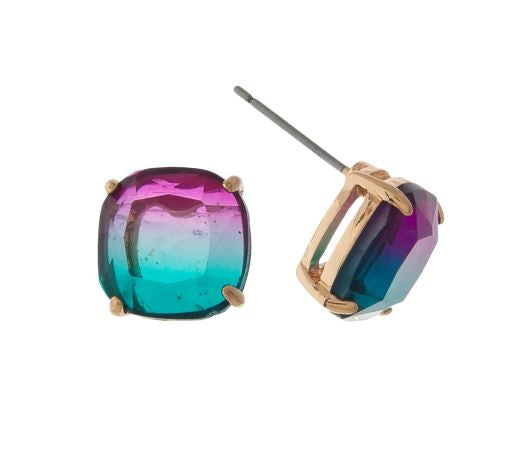Purple/Teal Ombre Studs