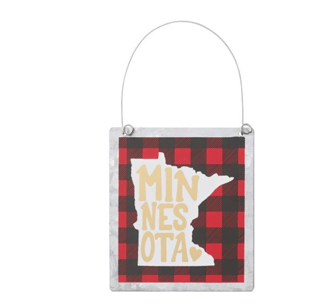 MN Plaid - Tin Ornament