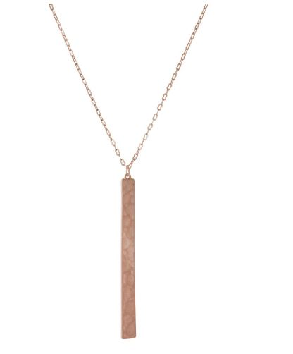 Long Hammered Pendant Necklace