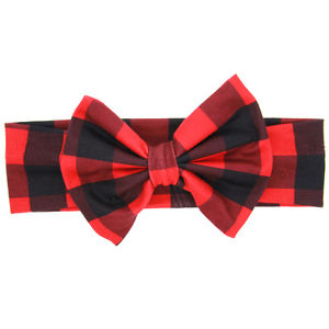Infant Buffalo Plaid Bow Headband